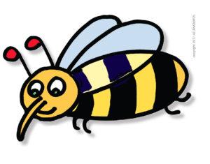 Simpatica APE stilizzata disegnata da ALTAN, per i progetti di APICOLTURA di CEFA ONLUS, per la campagna COMPLEANNO BEE HAPPY!